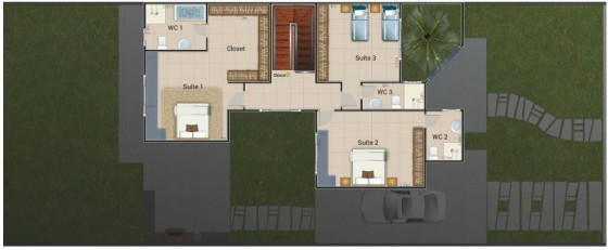 Plano del segundo piso de vivienda económica