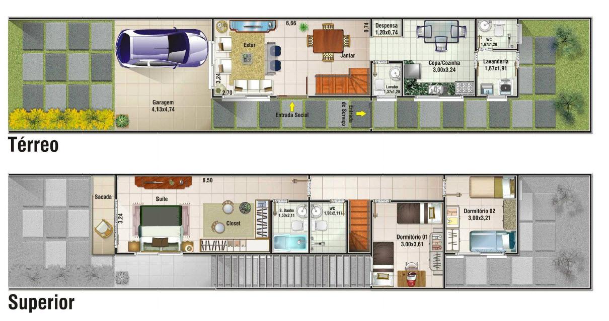 Planos de casa angosta y larga de dos pisos construye hogar for Casa de dos plantas construyehogar