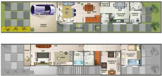 Planos de casa angosta y larga de dos pisos