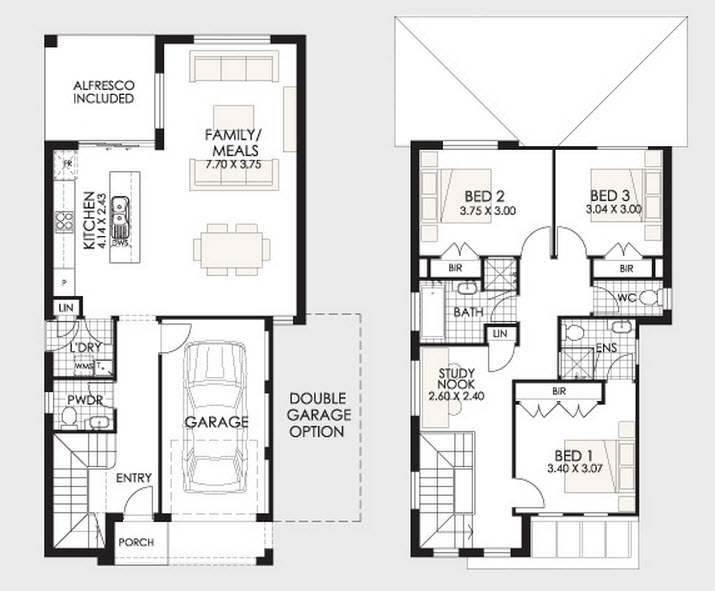Casas de dos pisos y tres dormitorios for Plano casa minimalista 3 dormitorios