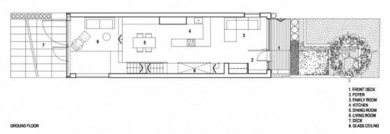 Planos del primer piso de casa angosta y larga