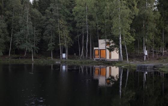 Diseño de cabaña moderna de madera 003