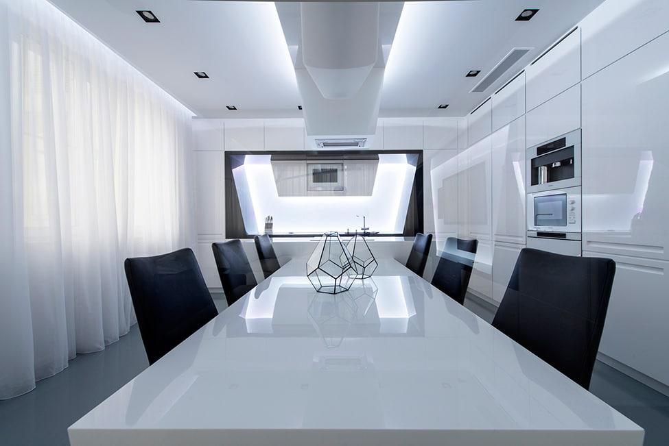 Dise o futurista de departamento for Iluminacion para departamentos modernos