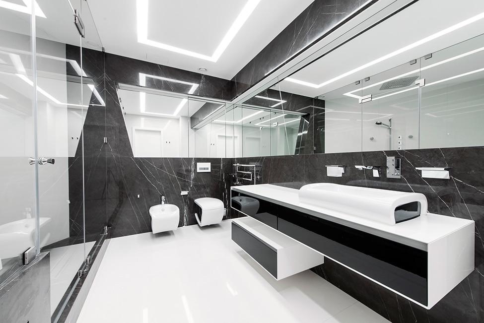 Dise o futurista de departamento for Disenos de interiores en blanco y negro