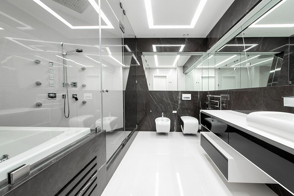 Dise o futurista de departamento construye hogar for Dormitorio blanco y negro