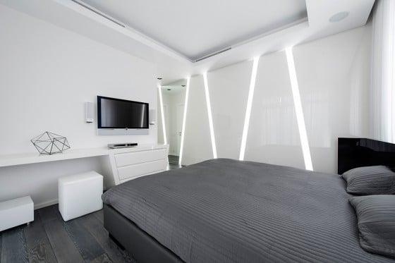 Diseño de dormitorio estilo futurista