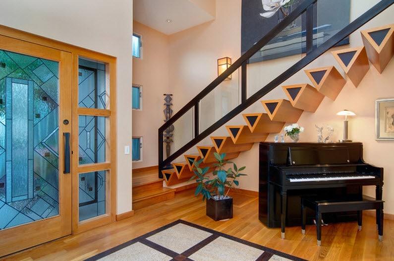 Dise o de escaleras y pasamanos construye hogar for Escalera recta de hierro y madera