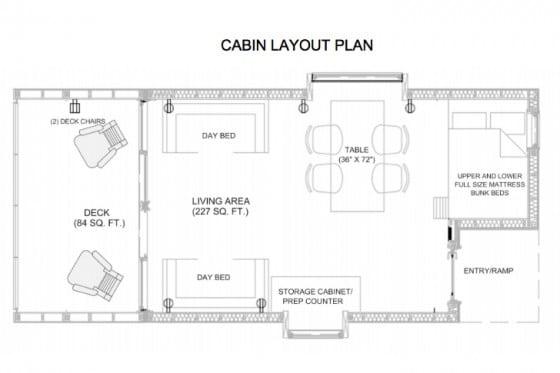 Plano de cabaña de madera
