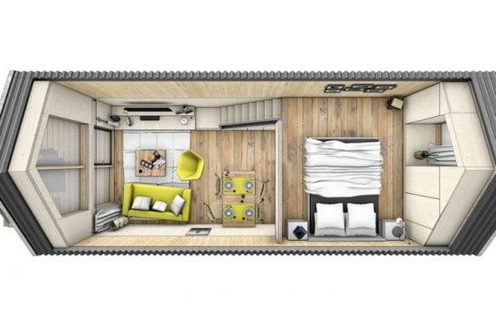 Plano de pequeña casa prefabricada 002