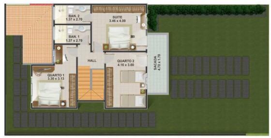 Planos de casa de dos pisos y tres dormitorios