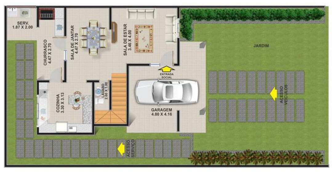 Casa de dos plantas con tres dormitorios moderna for Planos de casas de dos dormitorios