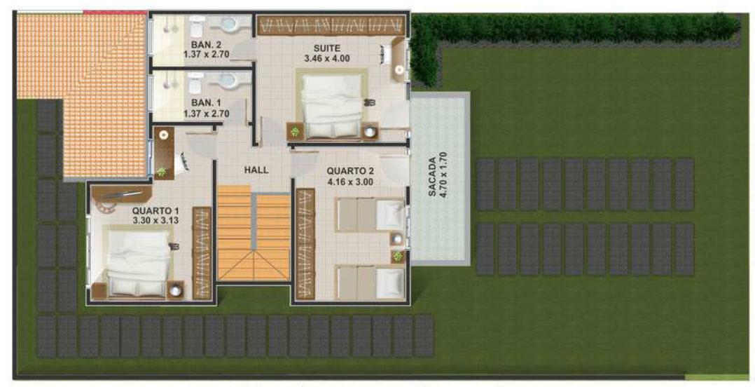 Casa de dos plantas con tres dormitorios moderna for Modelo de casa segundo piso