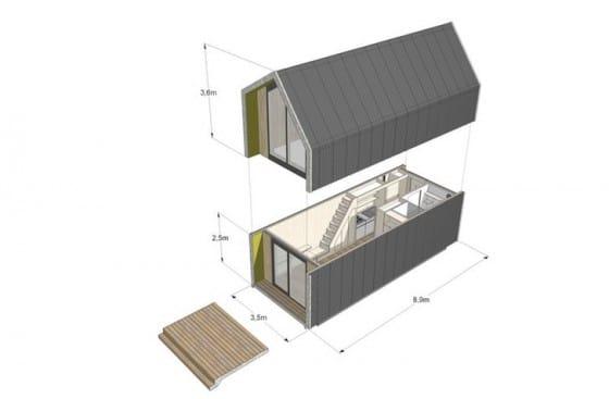 medidas de plano de casa pequeña prefabricada