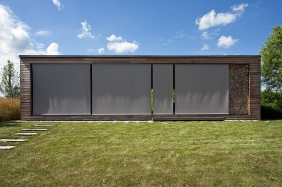 Cabaña con protección de cortinas