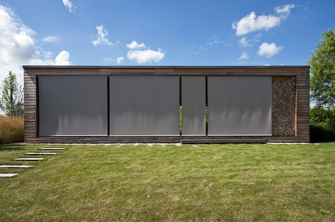 Dise o de peque a caba a de madera planos construye hogar - Cortinas para el sol ...