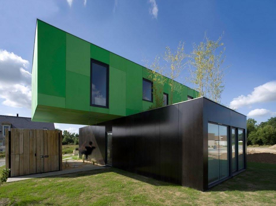 casa moderna construida con contenedores reciclados - Casas Con Contenedores