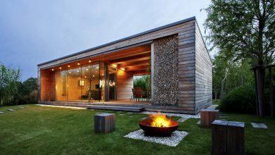 Photo of Diseño de cabaña construida en  madera, moderna estructura exterior combinado con materiales de construcción rústicos