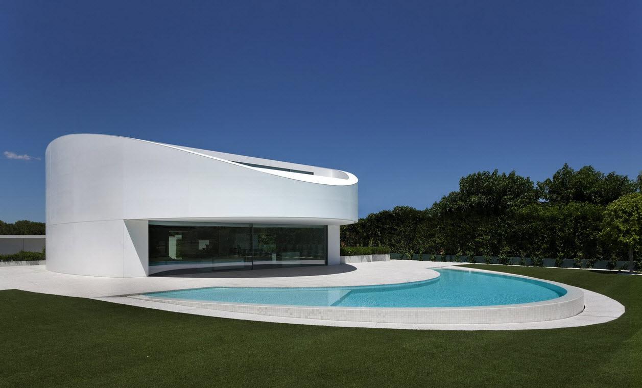 planos de casa moderna de dos pisos ovalada | construye hogar