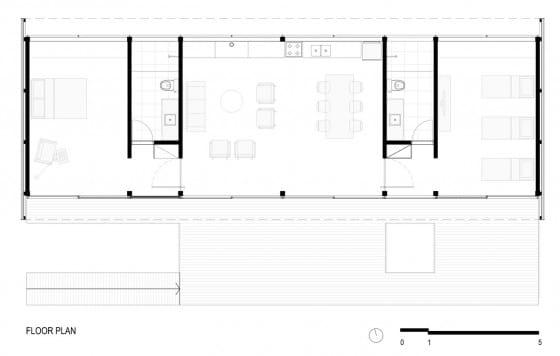 Plano de casa pequeña construida con container