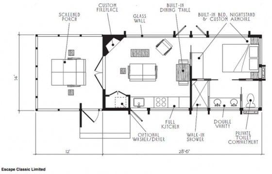 Plano de casa pequeña de un dormitorio con terraza
