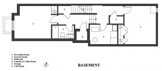 Plano de sótano de casa de dos pisos