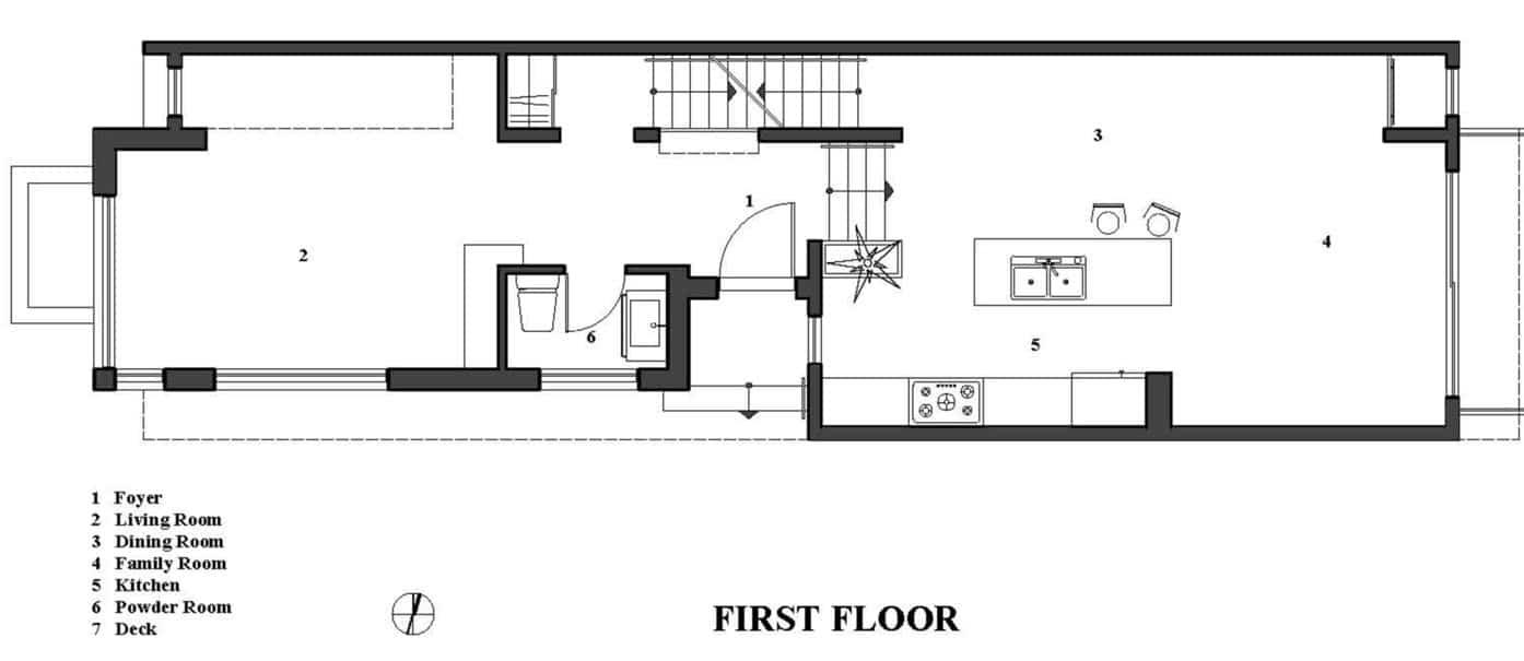 Plano de casa con local comercial for Planos de casas de dos pisos modernas