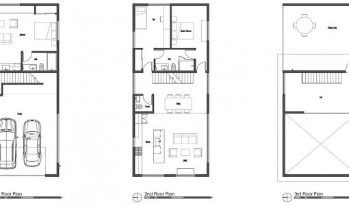 planos de casas de dos pisos rectangulares