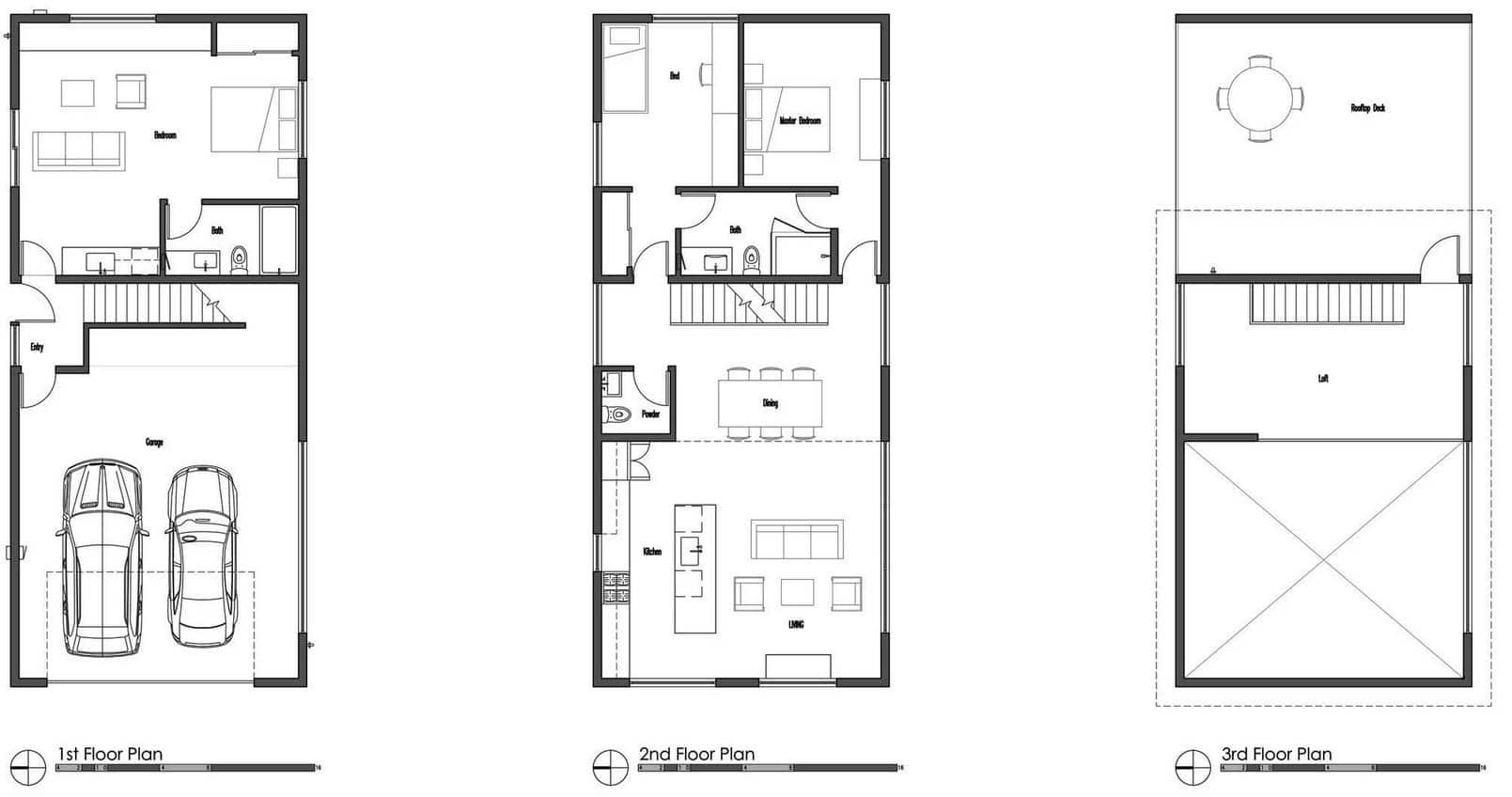 Planos de casa de dos pisos moderna for Planos de casas de 2 pisos