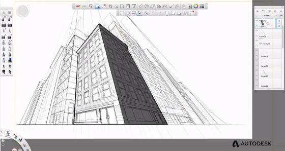 Aplicación para hacer dibujos arquitectura SketchBook