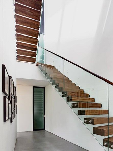 Planos de casa de dos pisos en esquina - Escaleras de cristal y madera ...