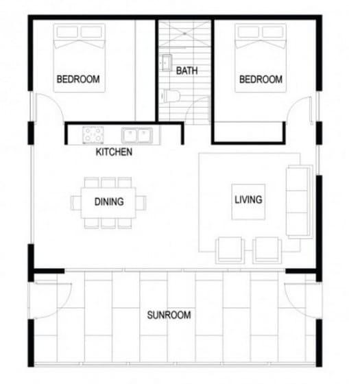 Plano de casa autosustentable de dos habitaciones