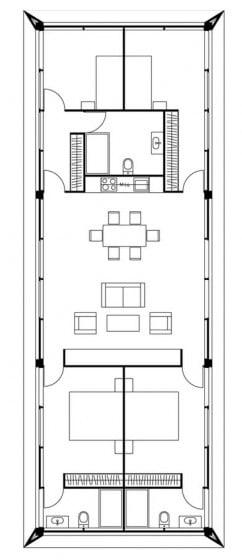 Plano de casa construido en terreno angosto