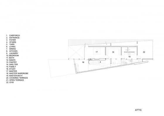 Plano del ático de casa moderna de dos pisos
