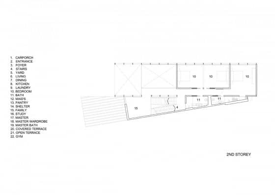 Plano del seguno piso de casa moderna
