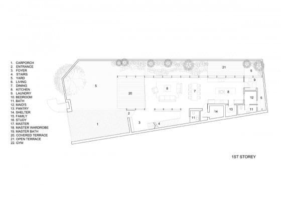 Planos de casa dos pisos moderna ubicada en esquina