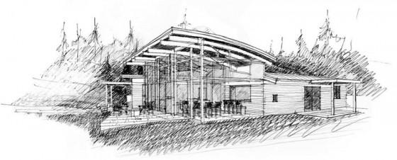 Casa moderna de campo dibujo