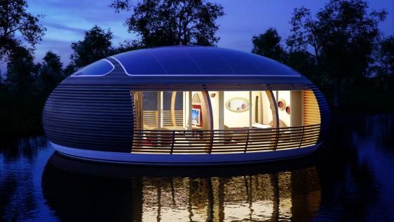 Casa reciclada ecológica flotante por la ncohe