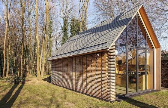 Diseño de cabaña revestida de listones de madera