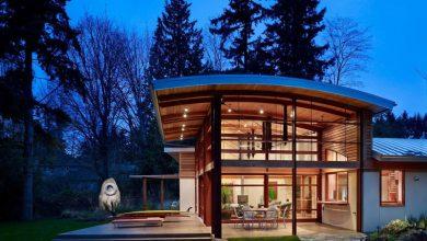 Casa de campo cubierta ovalada