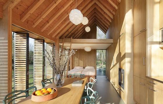 Diseño de interiores de cabaña de madera