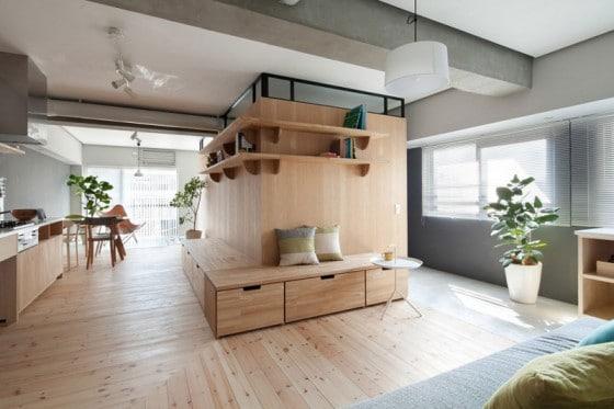 Diseño de mueble de madera central ubicado al centro del departamento