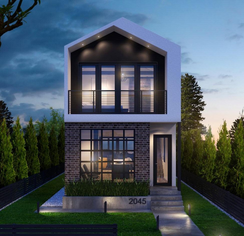 Planos casa dos pisos angosta y larga dise o for Ideas fachadas de casas pequenas