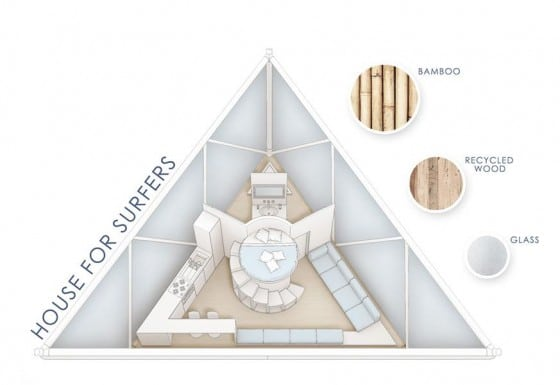 Plano de casa de bambú pequeño triangular en 3D
