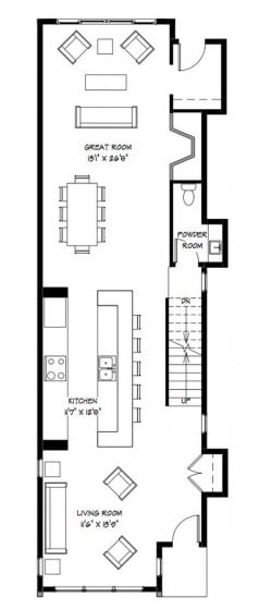 Plano de casa de dos pisos (primer nivel)