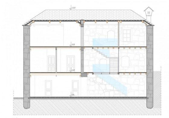 Plano de corte de casa de piedra de tres pisos