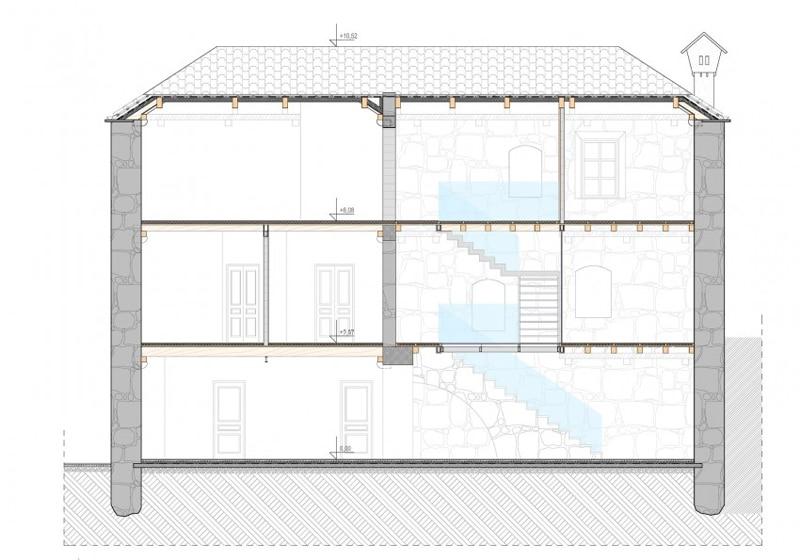 Dise o de casa de piedra con planos for Diseno de apartamentos de 3 pisos