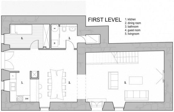 Plano de casa de piedra de tres pisos pequeña