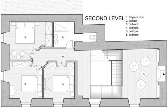Plano de pequeña casa de piedra de tres pisos