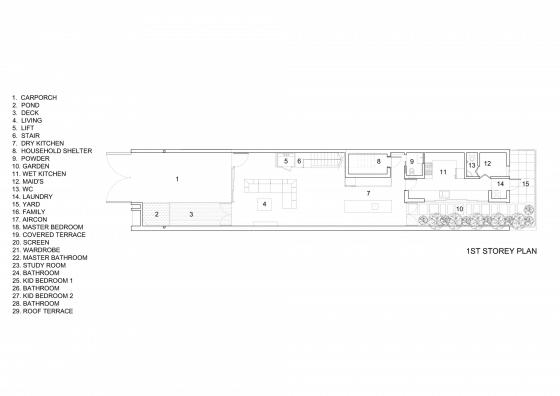 Plano del primer piso de casa angosta y larga