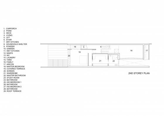 Plano del segundo piso de casa angosta y larga